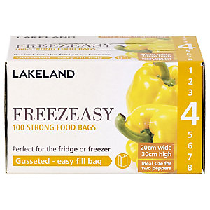 100 Freezeasy Food Freezer Bags - Gusseted (20 x 30cm) Size 4