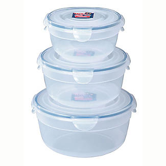 3 Lock & Lock Nesting Mixing Bowls 0.8L, 1.4L & 2.1L Set With Lids