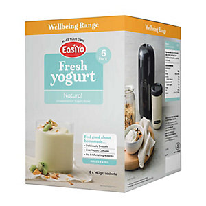EasiYo Unsweetened Natural Yogurt Sachet Mix (6 x 135g)