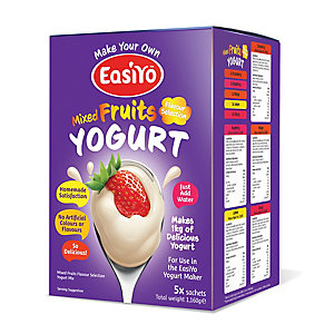 EasiYo Mixed Fruits Variety Pack Yogurt Sachet Mix (5 Sachets)