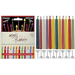 Angel Flames 12 Colour Changing Birthday Cake Candles & Holders