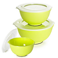 3 Lakeland Plastic Nesting Mixing Bowls 1L, 2L & 4L Set With Lids