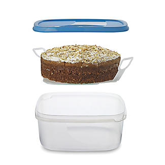 Cake Storage Container & Cake Lifter & Lid - Square Holds 23cm Cakes alt image 1