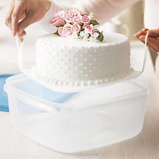 Cake Storage Container & Cake Lifter & Lid - Square Holds 23cm Cakes alt image 2