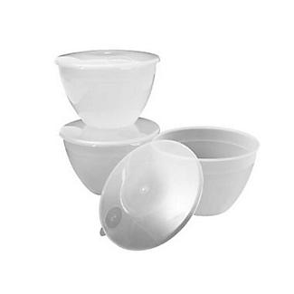 3 Plastic Lidded Steamed Pudding Basins 1.2L