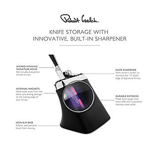 Robert Welch Signature Knife Block Sharpener and 6 Knives alt image 4