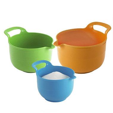 3 Grip & Mix Plastic Nesting Mixing Bowls 1L, 1.5L & 2L With Handles