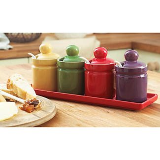 Stoneware Condiment Set