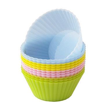 12 Silicone Pastel Cupcake Cases
