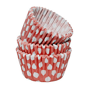 54 Red Spotty Greaseproof Paper Cake Cases