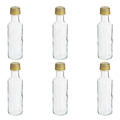 Mini Glass Bottles With Single Use Screw Lids 100ml X 6