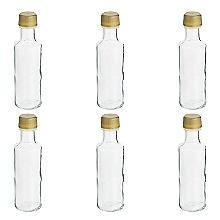 6 Miniaturflaschen aus Glas mit Schraubverschluss, 100 ml