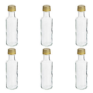 6 Glass Mini Gifting Bottles With Single Use Screw Lids 100ml