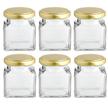 6 Square Mini Gifting Glass Jam Jars & Lids 130ml