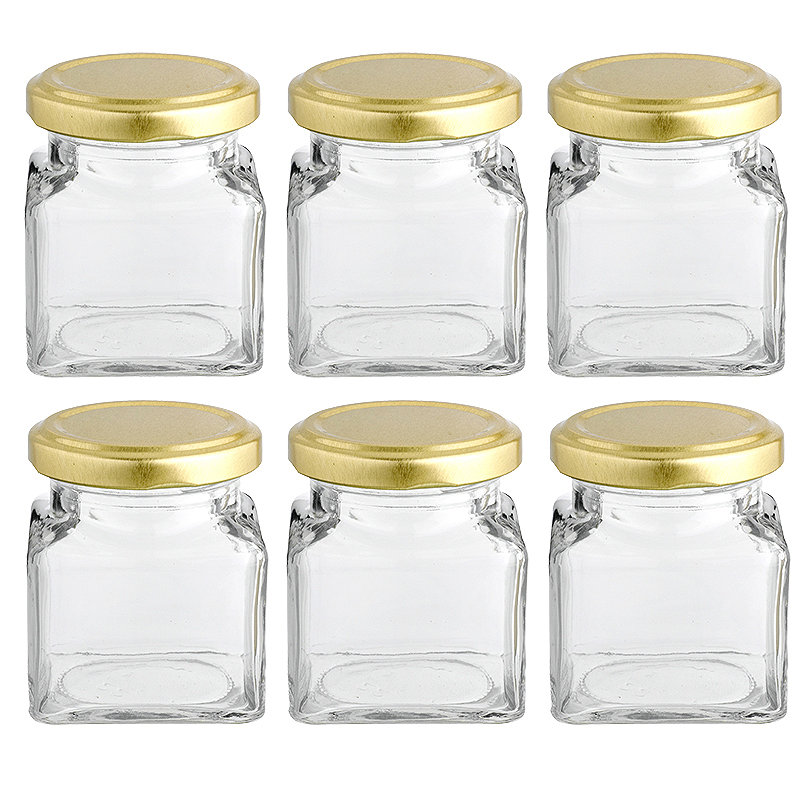 6 Square Mini Gifting Glass Jam Jars &