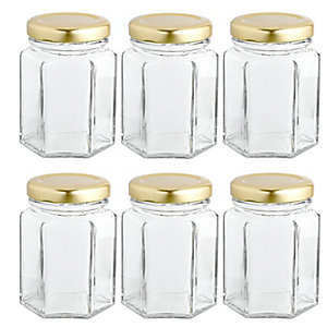 6 Hexagonal Mini Gifting Glass Jam Jars & Lids 110ml