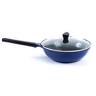 Colourful Ceramica Cookware Blue Lidded Wok - 28cm alt image 2