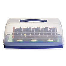 Cake Carrier Caddy & Clear Lid - Oblong Holds Swiss Rolls & Loaf Cake