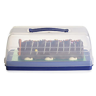 Cake Carrier Caddy & Clear Lid - Oblong Holds Swiss Rolls & Loaf Cake alt image 1