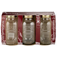 3 Kilner Large Preserving Glass Jam Jars & Lids 1L