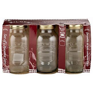3 Kilner Large Preserving Glass Jam Jars & Lids 1L