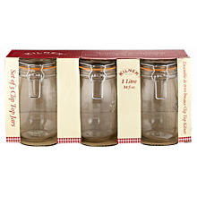 3 Clip Top Kilner®  Large Preserving Glass Jam Jars & Lids 1L