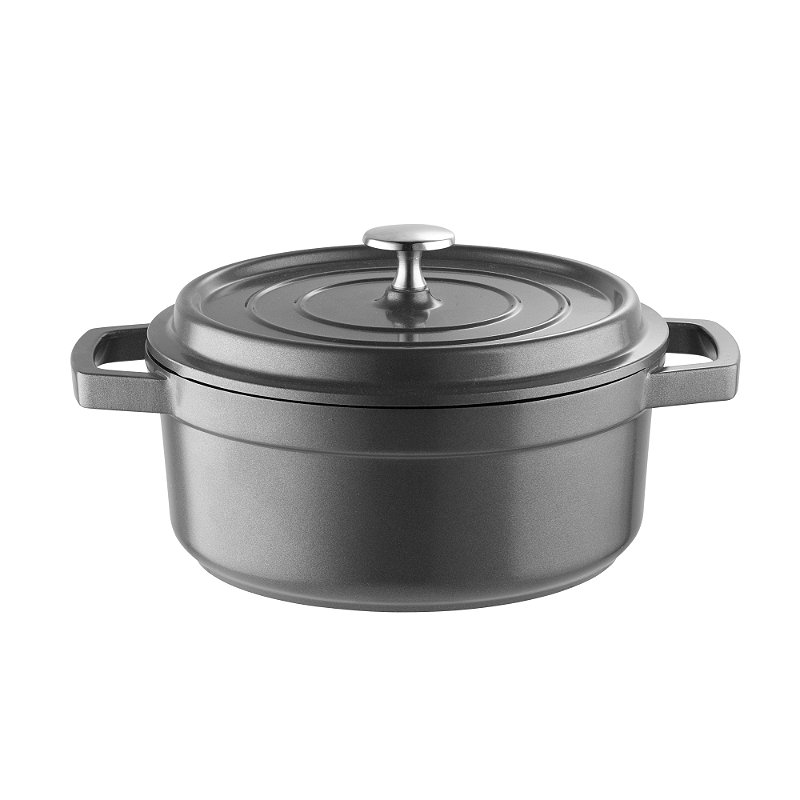 Lightweight Cast Aluminium 20cm Round Casserole Grey with