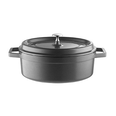Lightweight Cast Aluminium 26cm Oval Casserole Grey with Lid