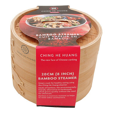 "Ching He Huang by Typhoon® 8"" Double Bamboo Steamer"