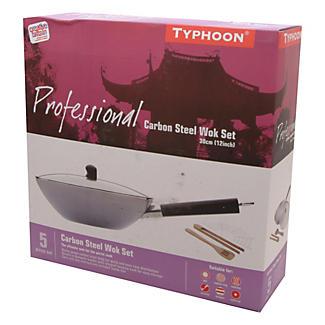 Typhoon® 35cm Carbon Steel Professional Wok Set  alt image 2