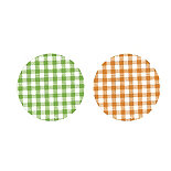 6 Green and 6 Orange Gingham Twist-Off Lids