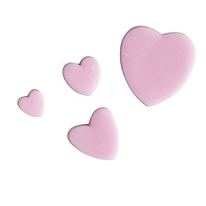 4 Mini Fondant Icing Cutters - Heart Shaped