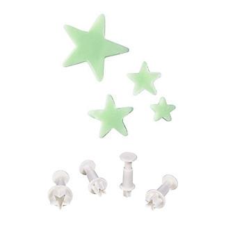 4 Mini Fondant Icing Cutters - Star Shaped alt image 1