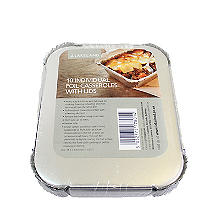 10 Disposable Foil Containers Casserole Dishes & Lids - 450ml