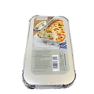 10 Disposable Foil Containers Casserole Dishes & Lids - 700ml