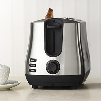 Elementi Toaster mit 2 Schlitzen, gebürsteter Edelstahl/Schwarz