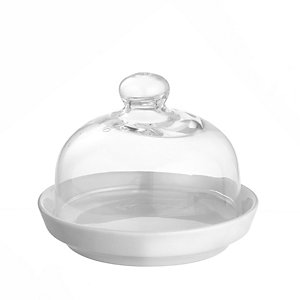 Elegance Porcelain Mini Serving Plate & Glass Lid