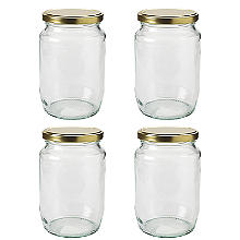 4 Extra Large Glass Jam Jars & Lids 2lb