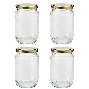 4 Extra Large Glass Jam Jars & Lids 2lb