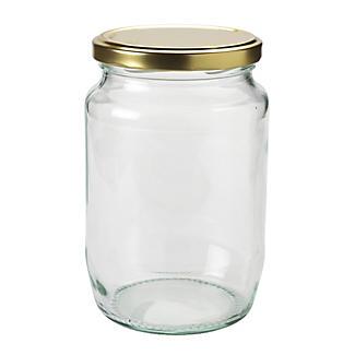 4 Extra Large Glass Jam Jars & Lids 2lb alt image 2