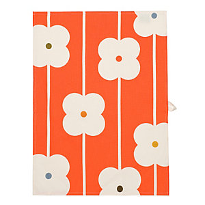 Abacus Flower Red Tea Towel