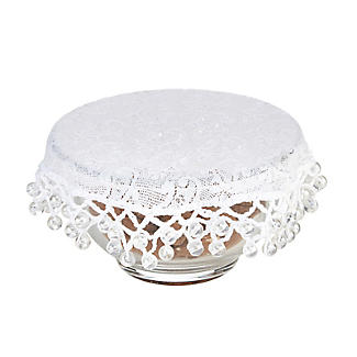 Lace Effect Beaded Food Bowl & Pot Cover - 13cm White alt image 1