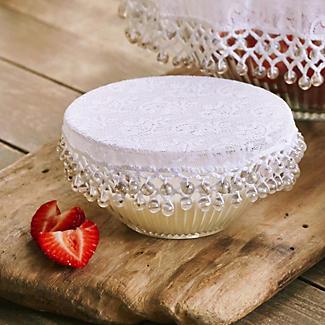 Lace Effect Beaded Food Bowl & Pot Cover - 13cm White alt image 2