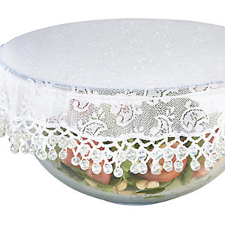 Lace Effect Beaded Food Bowl & Pot Cover - 32cm White