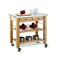 Eddingtons Two Drawer Lambourn Trolley With Stainless Steel Top