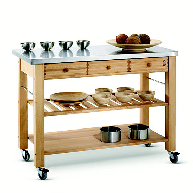 Eddingtons Three Drawer Lambourn Trolley With Stainless Steel Top