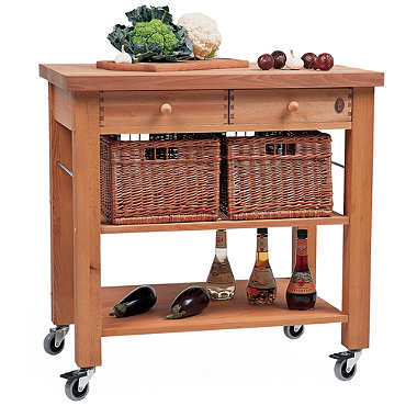 Eddingtons Two Drawer Lambourn Trolley With Solid Beech Top