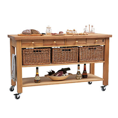 Eddingtons Four Drawer Lambourn Trolley With Solid Beech Top