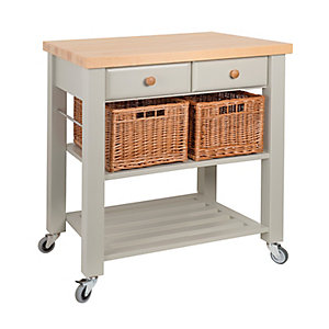Eddingtons Two Drawer French Grey Lambourn Trolley Beech Top