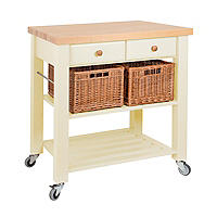 Eddingtons Two Drawer Cream Lambourn Trolley With Solid